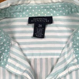 JONES NEW YORK Striped Button-down Shirt 2X